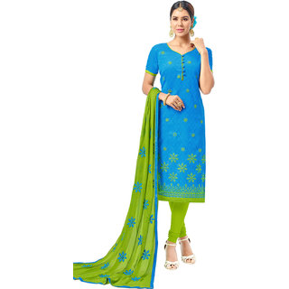 Swaron Blue and Green Thread Embroidery,Border Evening Wear Chanderi Unstitched Salwar Suit