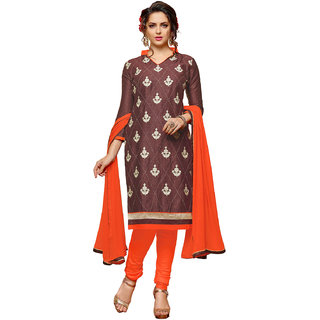 Swaron Brown and Orange Thread Embroidery Evening Wear Cotton Unstitched Salwar Suit