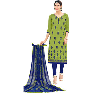 Swaron Green and Blue Thread Embroidery,Border Festive Wear Chanderi Unstitched Churidar Suit