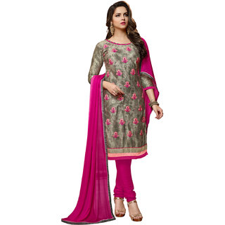 Swaron Grey and Pink Thread Embroidery Evening Wear Cotton Unstitched Salwar Suit