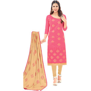 Swaron Peach and Beige Thread Embroidery,Border Festive Wear Chanderi Unstitched Churidar Suit
