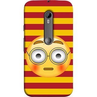 FUSON Designer Back Case Cover for Motorola Moto G3 :: Motorola Moto G (3rd Gen) :: Motorola Moto G3 Dual SIM (Sad Moon Power Icons Red And Yellow Strips )