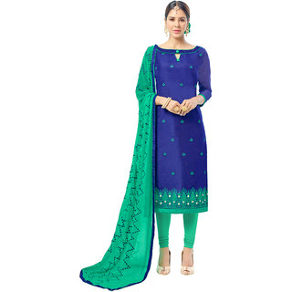 Swaron Navy and Turquoise Thread Embroidery,Border Evening Wear Chanderi Unstitched Salwar Suit