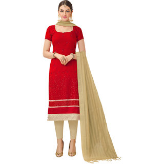 Swaron Red and Beige Thread Embroidery Formal Wear Chanderi Semi-Stitched Salwar Suit