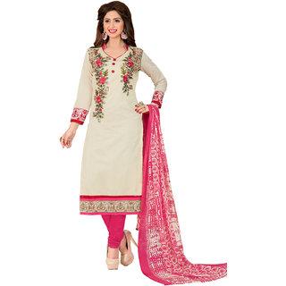 Swaron Cream and Pink Thread Embroidery,Border Festive Wear Chanderi Unstitched Salwar Suit