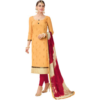 Swaron Yellow and Maroon Thread Embroidery Formal Wear Chanderi Semi-Stitched Salwar Suit