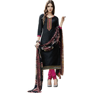Swaron Black and Pink Printed,Thread Embroidery Formal Wear Cotton Satin Unstitched Salwar Suit