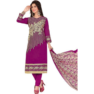 Swaron Purple and Gold Thread Embroidery,Border Festive Wear Chanderi Unstitched Salwar Suit