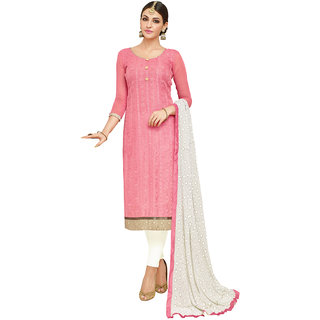 Swaron Peach and Cream Thread Embroidery Formal Wear Chanderi Semi-Stitched Salwar Suit