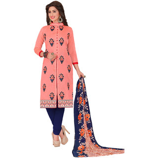 Swaron Peach and Blue Thread Embroidery,Border Festive Wear Chanderi Unstitched Salwar Suit