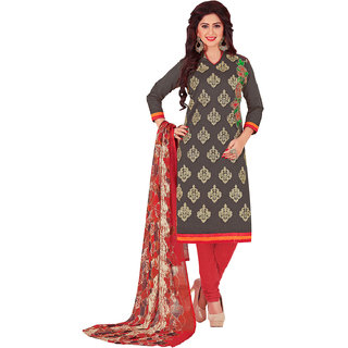 Swaron Grey and Red Thread Embroidery,Border Festive Wear Chanderi Unstitched Salwar Suit