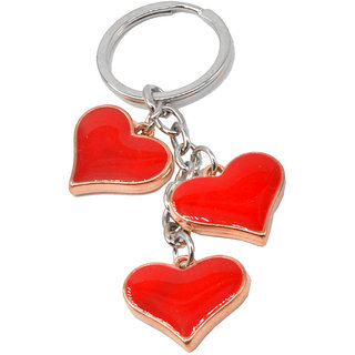 Faynci Stunning Three Red Hearts Love Key Chain Gifting for Velentine Day