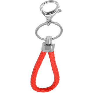 Faynci Braided Leather Cord Metal Red Key Chains Weave Key Chain