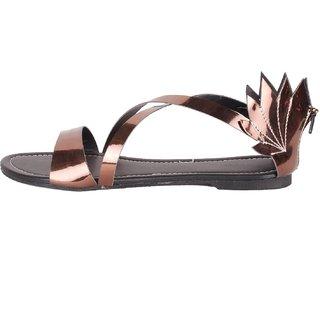 e0efaba03 Buy Foot Wagon Brown Metallic Faux Leather Flat Sandal SDL-47-BROWN ...