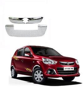 Front Stylish Silver Chrome Color Grill For Maruti Alto K10 2014 Set Of 2 Pcs.