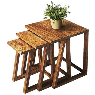 BM Wood Furniture Sheesham Wood Nesting Tables Set Of 3 Stools