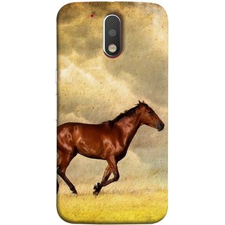 FUSON Designer Back Case Cover for Motorola Moto G4 :: Moto G (4th Gen) (Black Horse Animal Green Grass Blue Sky Clouds Look)