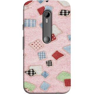 FUSON Designer Back Case Cover for Motorola Moto G3 :: Motorola Moto G (3rd Gen) :: Motorola Moto G3 Dual SIM (Baby Pink Lot Colours Squares Patch Tiles )
