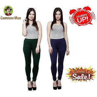 (PACK OF 2) COMMON MEN'S Churidar Leggings for Women - FREE SIZE - (M-XL) - MULTI-COLOR