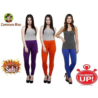 (PACK OF 3) COMMON MEN'S Churidar Leggings for Women - FREE SIZE - (M-XL) - MULTI-COLOR