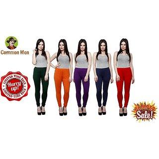 (PACK OF 5) COMMON MEN'S Churidar Leggings for Women - FREE SIZE - (M-XL) - MULTI-COLOR #5b