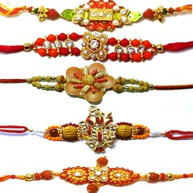 Vanyas Set Of 5 Assorted Designer Rakhi