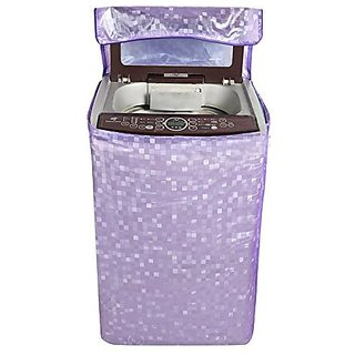 Khushi Creations Classic Purple With Square Design Top Load Washing Machine Cover (Suitable For 6 Kg, 6.5 Kg, 7 Kg, 7.5