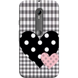 FUSON Designer Back Case Cover for Motorola Moto G3 :: Motorola Moto G (3rd Gen) :: Motorola Moto G3 Dual SIM (Two Hearts Towels Pink Love Lovers Small Checks )