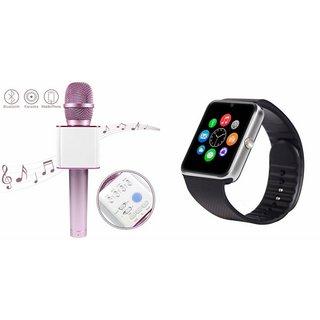 Buy Zemini GT08 Smart Watch and Q7 Microphone Karrokke Bluetooth