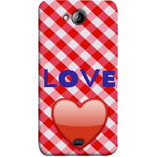 FUSON Designer Back Case Cover for Micromax Bolt Q338 (Red Shiny Heart Against Red And White Checkered)