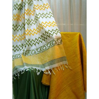 Tussar Silk Suit Dress material Mustard Green Prices in India ...
