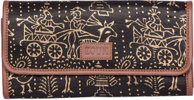 Zouk Masroo Silk Printed Clutch for Women's - Black