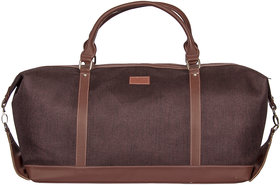 Zouk Jute and Khadi Solid Travel Duffel Bag for Women's - Brown