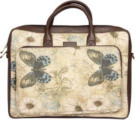 Zouk Jute and Khadi Butterfly Printed Laptop Bag for Women's - Multicolor