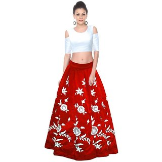 Shailaja Sarees Women's Benglori Silk Aarohi Red Colour Lehenga Choli Deal Of Day