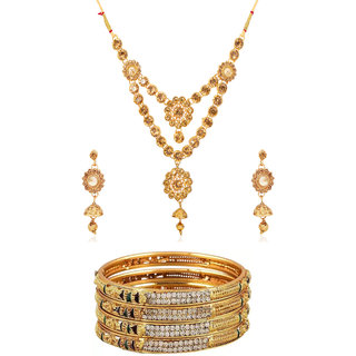Bhagya Lakshmi Traditional Bangles With Necklace Combo For Women