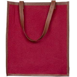Zouk Gerua Canvas Checks Tote Bag for Women's - Maroon