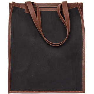 Zouk Canvas Solid Tote Bag for Women's - Black