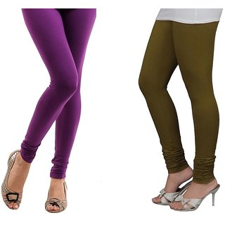 Stylobby Purple And Olive Green Cotton Lycra (Pack Of 2 Leggings)