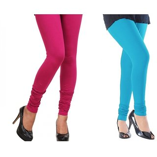 Stylobby Pink And Sky Blue Cotton Lycra Pack Of 2 Leggings
