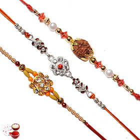 Vanyas Set Of 3 Assorted Designer Rakhi
