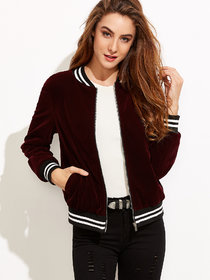 Varsity Striped Velvet Wine Jacket