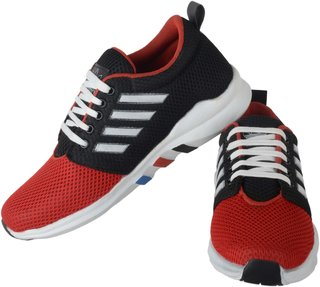 Running rider Red  Black Net Men's Casual Shoes