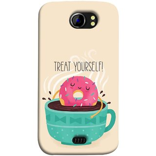 FUSON Designer Back Case Cover for Micromax Canvas 2 A110Q  :: Micromax A110Q Canvas 2 Plus :: Micromax Canvas 2 A110 (Donut Strawberry Flavor Sinking In Hot Chocolate)