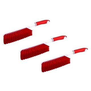 StyleWell Pack of 3 Pcs Car Seat / Carpets / Mats / Bed Cleaning with Hard Long Bristles Plastic Wet and Dry Brush