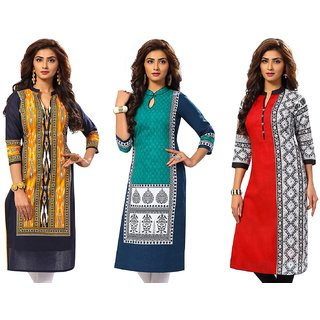 Jevi Prints - Combo of 3 Unstitched Women's Cotton Printed Kurti Fabrics (Fabrics Only for Top)