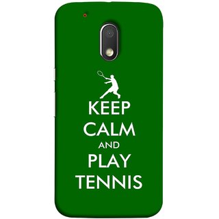 FUSON Designer Back Case Cover for Moto G Play (4th Gen) :: Motorola Moto G4 Play (Tennis Player Logo Keep Silent And Cool Game On)
