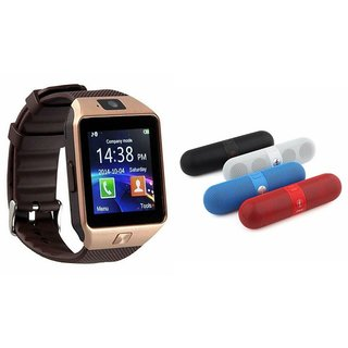 Buy Mirza DZ09 Smartwatch and Facebook Pill Bluetooth Speaker for