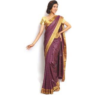 Sudarshansilk Purple Art Silk Self Design Saree With Blouse