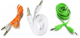 (Pack of 3) Tricolor Flat Aux cable combo by KSJ